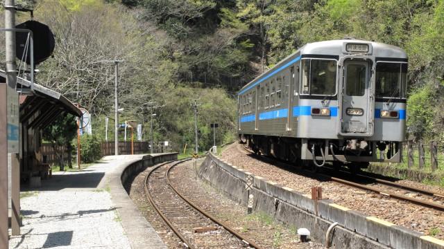 坪尻駅に停車する単行列車